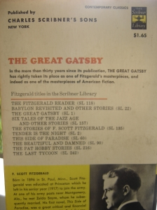 The Great Gatsby - back cover. Looks like I paid a whole $1.65 for this one.