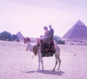 Karen's parents on a camel in Egypt.