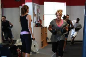Karen teaching a kickboxing class.