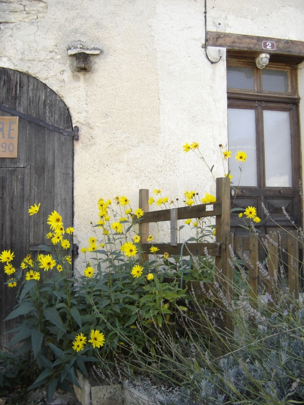 Essoyes - Yellow flowers and lavender against dark wood and stucco with rounded door - gorgeous!